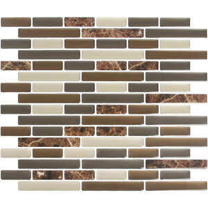 Peel and Impress  9.3 in. W x 11 in. L Multiple Finish (Mosaic)  Brown  4 pk Vinyl  Adhesive Wall Ti