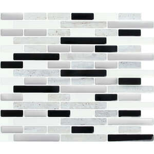 Peel and Impress  11 in. L x 9.3 in. W Multiple Finish (Mosaic)  Vinyl  Adhesive Wall Tile  Gray  4