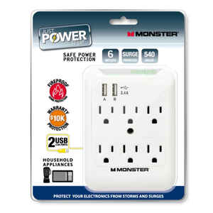 Monster Cable  Just Power It Up  540 J 6 outlets Surge Tap