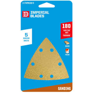 Imperial Blades  3-1/8 in. L x 3-1/8 in. W 180 Grit Emery  Vacuum Hole Sandpaper  5 pk