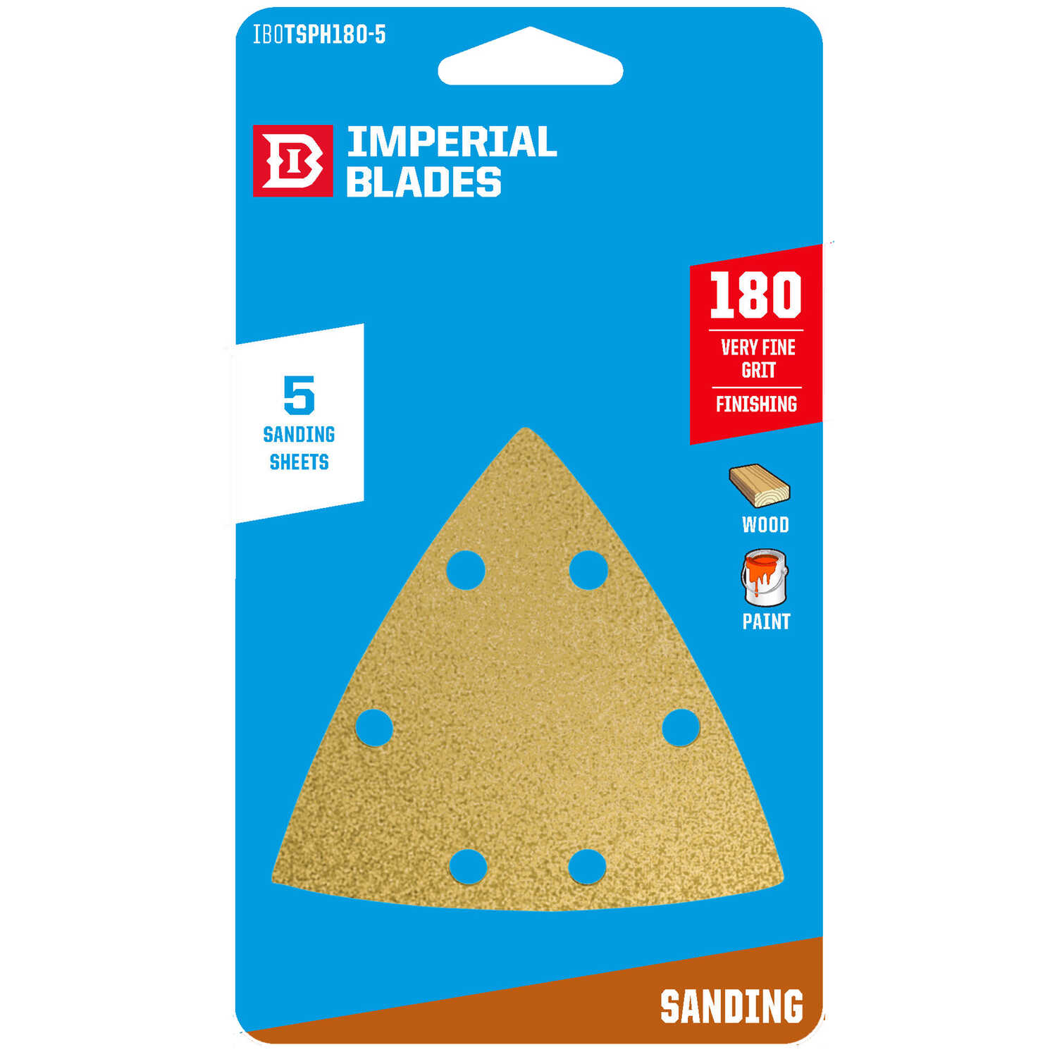Imperial Blades  3-1/8 in. L x 3-1/8 in. W 180 Grit Fine  Emery  Vacuum Hole Sandpaper  5 pk