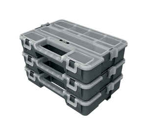 Ace  8-7/8 in. L x 12-7/16 in. W x 7-13/16 in. H Interlocking Organizer  Plastic  Gray