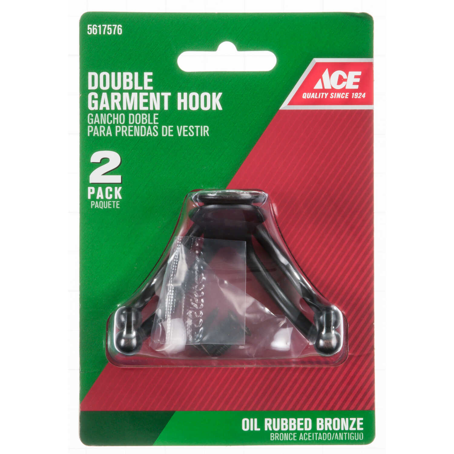 Ace  1 in. L Bronze  Metal  Small  Double Garment  Hook  2 pk Oil Rubbed Bronze