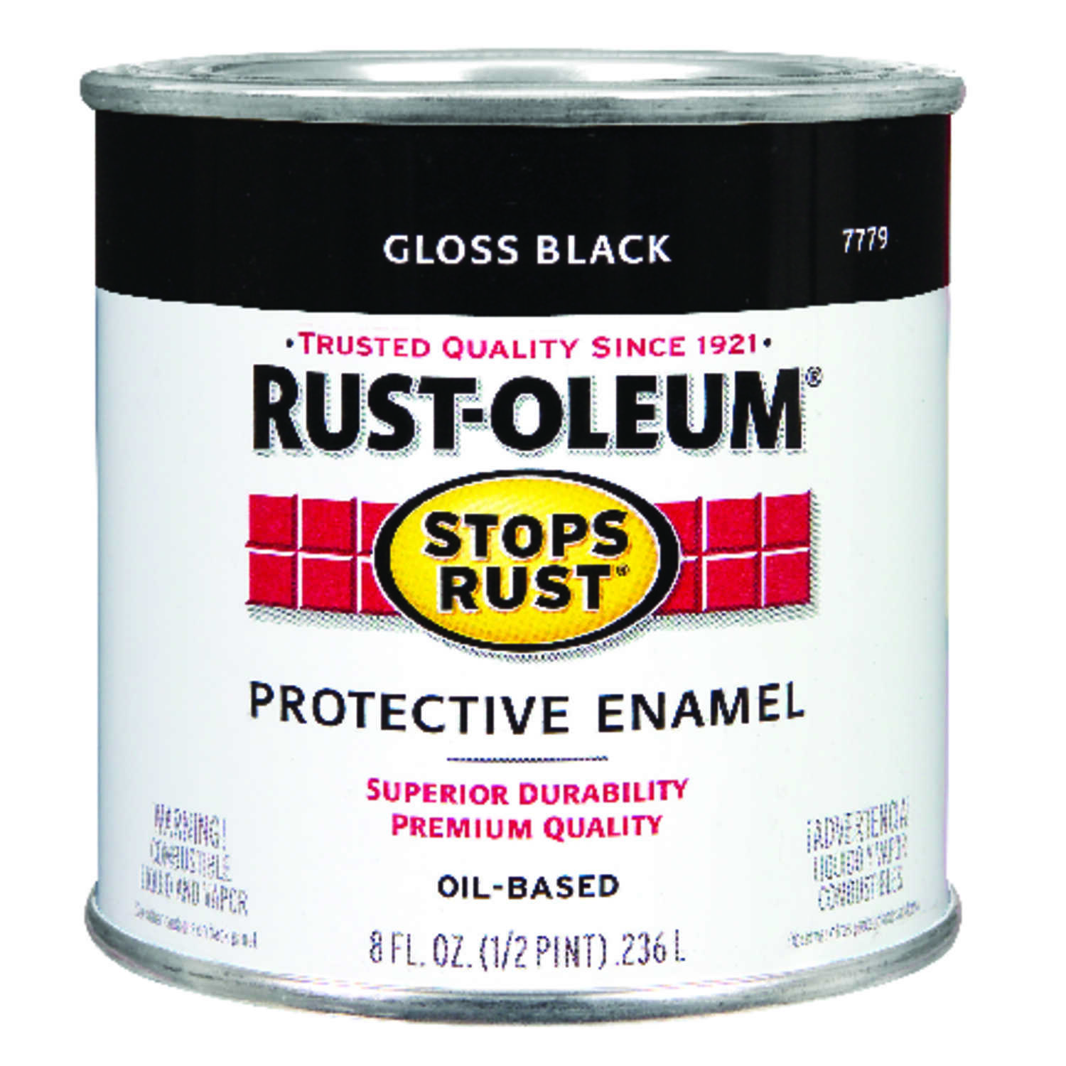 Rust-Oleum  Indoor and Outdoor  Gloss  Black  Protective Enamel  0.5 pt.