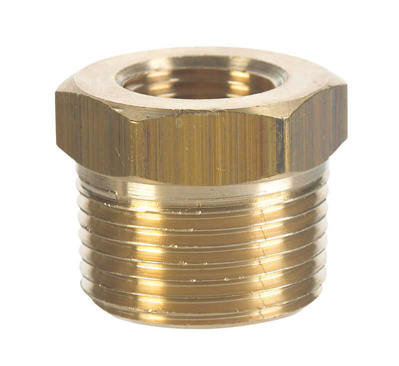 JMF  3/8 in. Dia. x 1/4 in. Dia. MPT To FPT  Yellow Brass  Hex Bushing