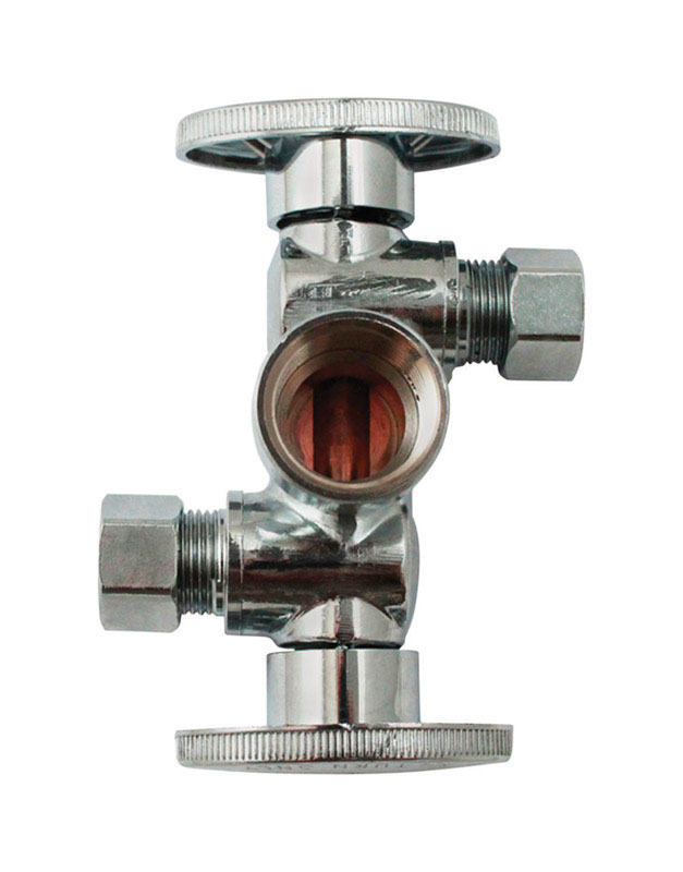 Keeney  1/2 in. Dia. x 3/8 in. Dia. Ball  Dual Shut-Off Valve  Brass