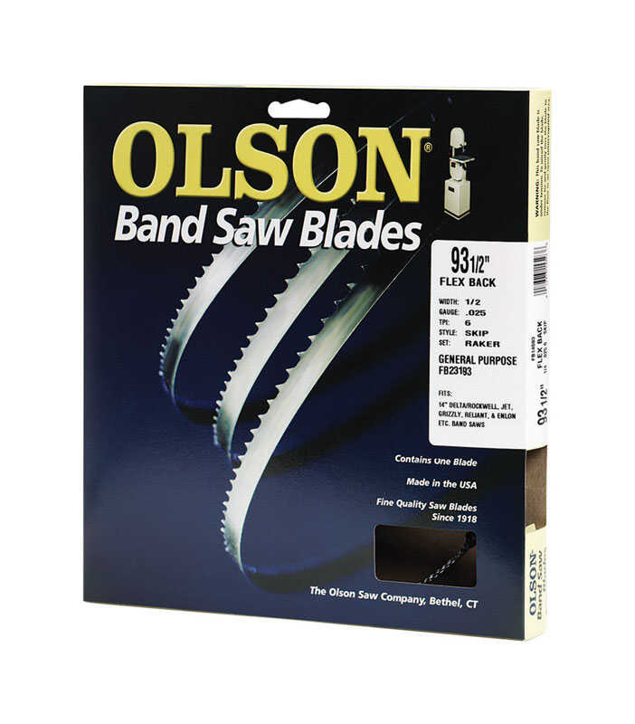 Olson  93.5  L x 0.5 in. W x 0.03 in.  Carbon Steel  Band Saw Blade  Hook  1 pk 3 TPI