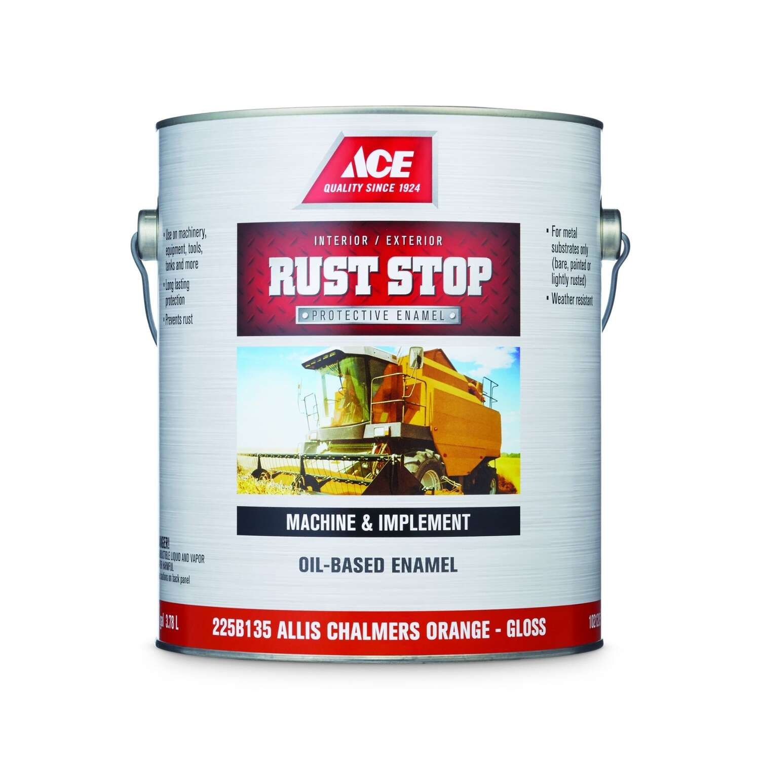 Ace  Rust Stop  Indoor/Outdoor  Gloss  Allis Chalmers Orange  Oil-Based Enamel  Rust Preventative Pa