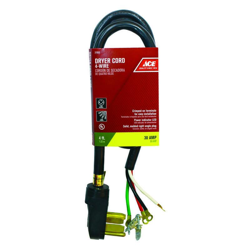 Ace 10/4 SRDT 4 ft. L Dryer Cord 4 Wire - Ace Hardware