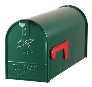 Gibraltar Mailboxes  Elite  Galvanized Steel  Post Mounted  Hartford Green  8-3/4 in. H x 20 in. L x