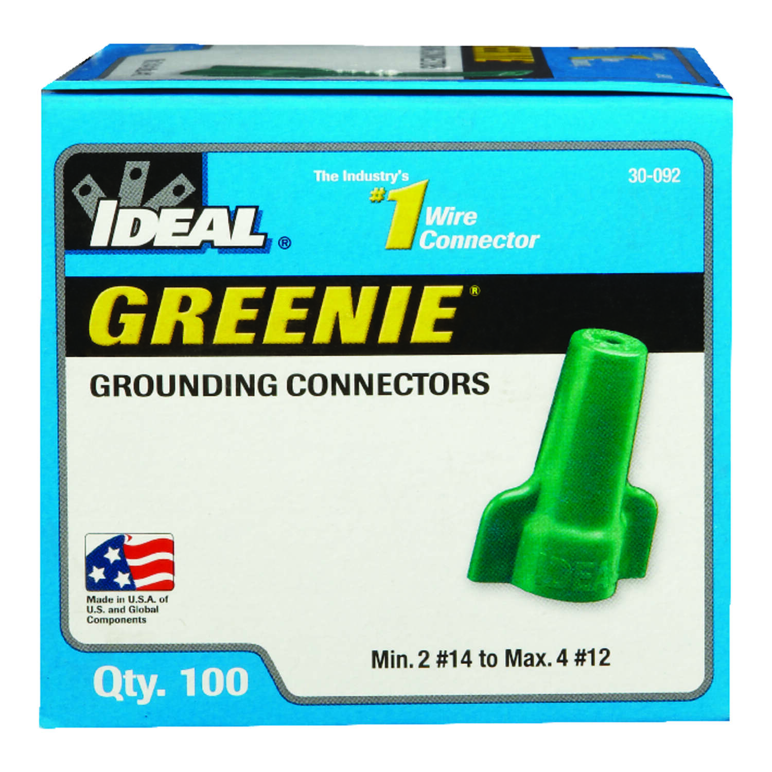 Ideal  Greenie  Insulated Wire  Grounding Connector  Green  100 pk