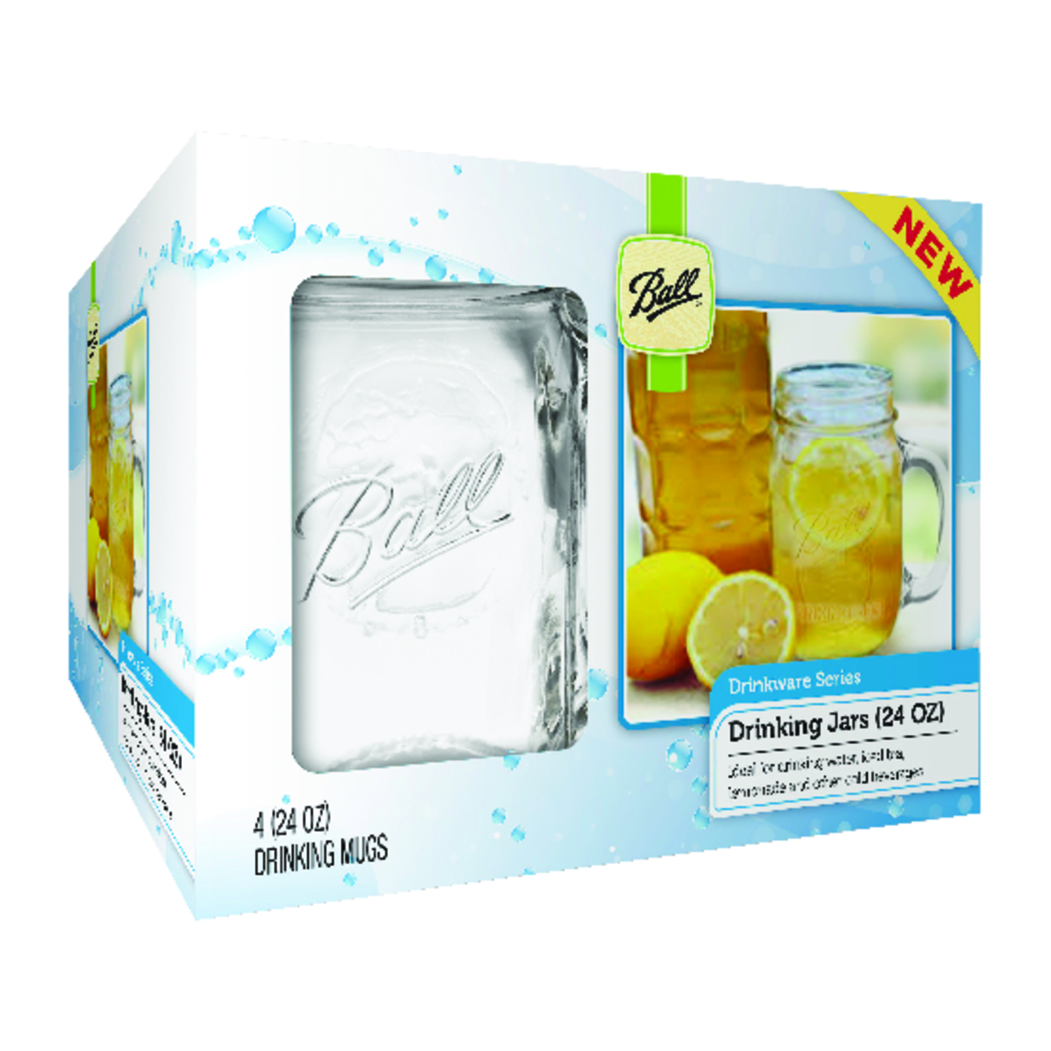 Ball  Glass  Mug  4 pk Clear