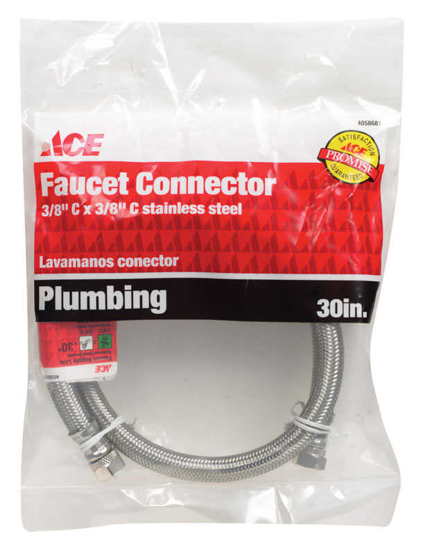 Ace  3/8 in. Compression   x 3/8 in. Dia. Compression  Braided Stainless Steel  30 in. Supply Line