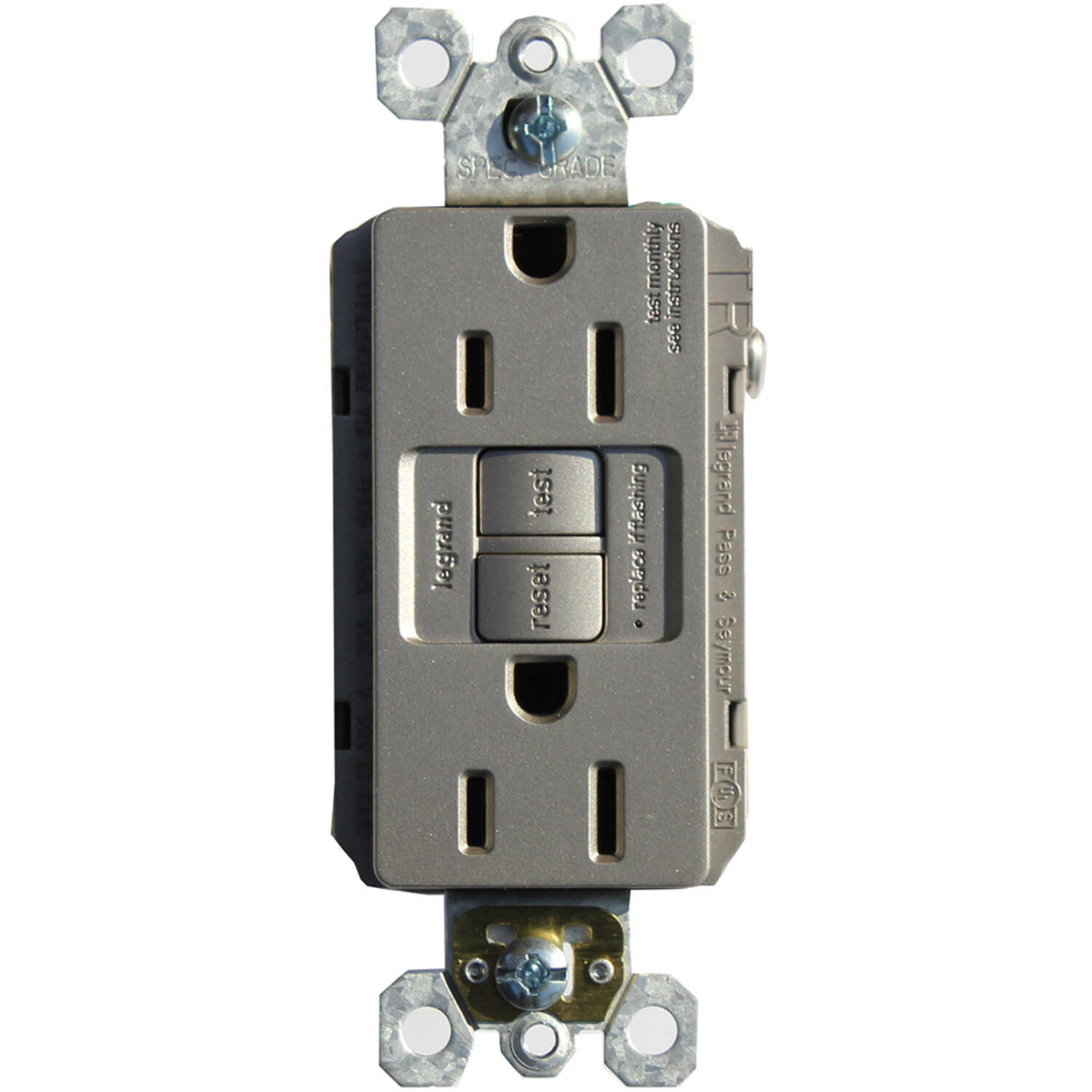Pass and Seymour  15 amps 125 volts Nickel  GFCI Receptacle  5-15R  1