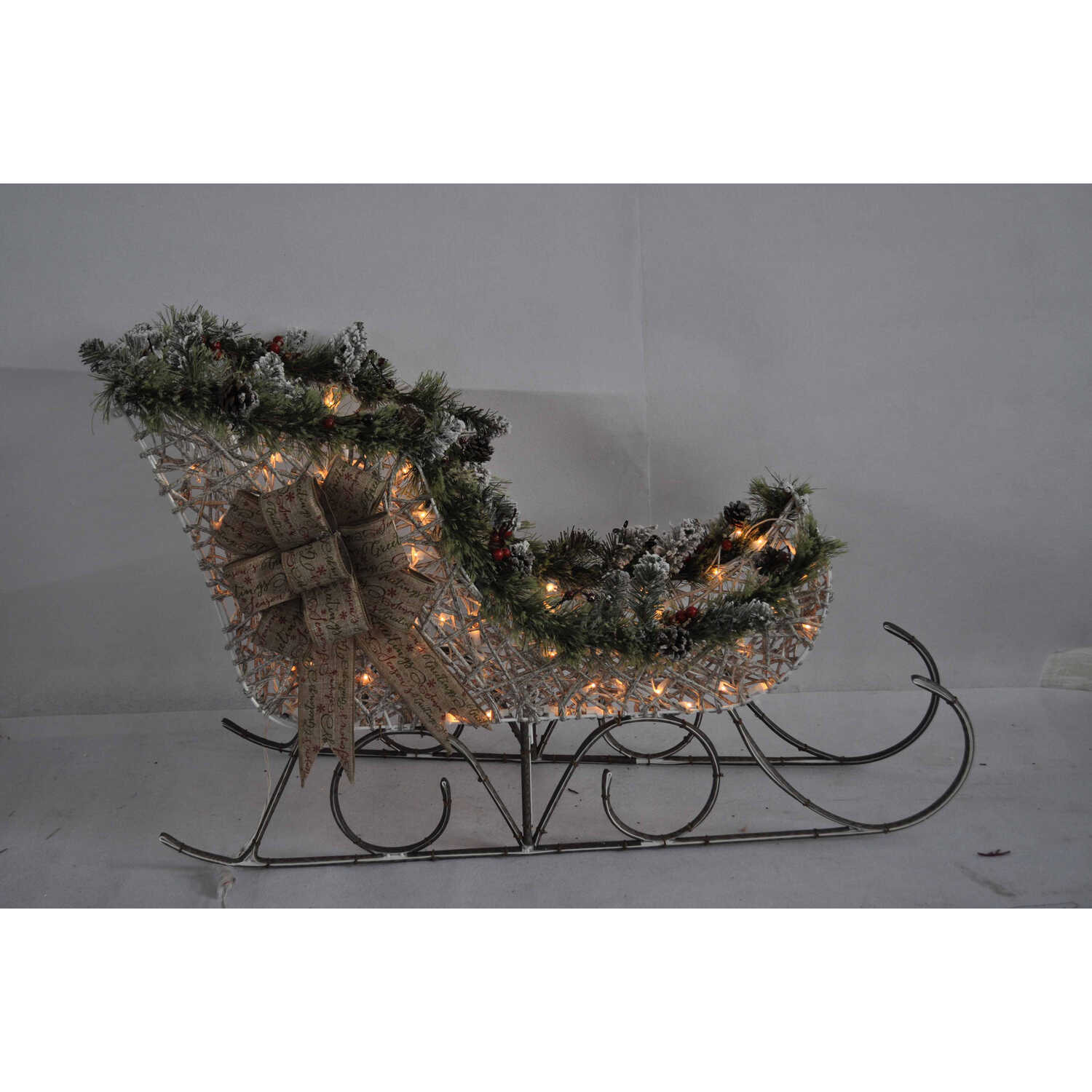 Celebrations  Sleigh  LED Yard Art  White  1 each Birch