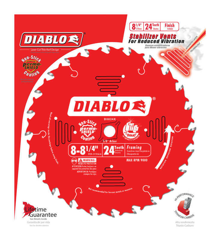 Diablo  8 in. Dia. x 5/8 in.  x 0.094 in. thick  Carbide Tip  Framing Blade  24 teeth 1 pc.