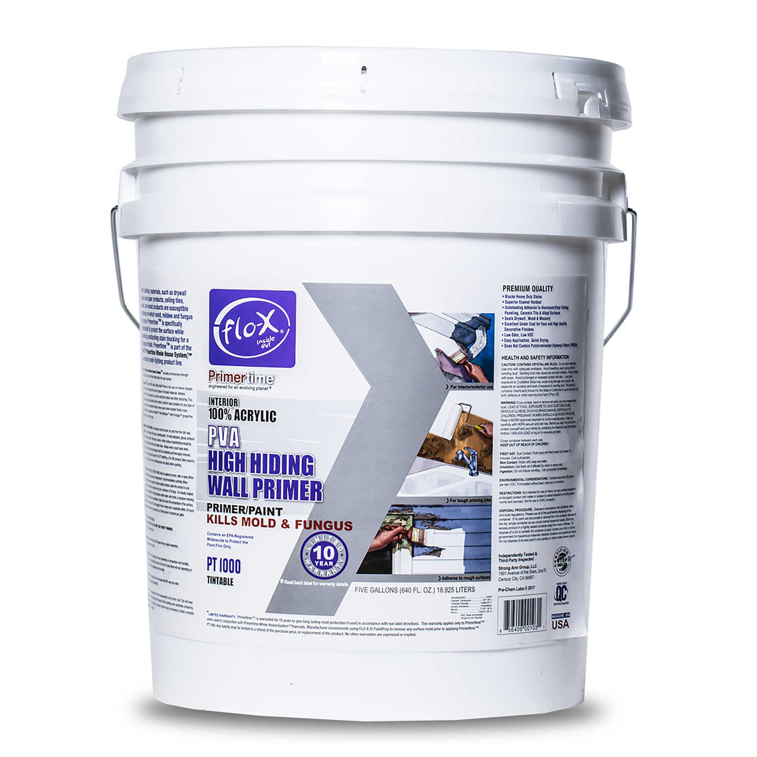 Flo-X  Primertime  Smooth  Clear  Water-Based  Acrylic  Primer  For Drywall 5 gal.