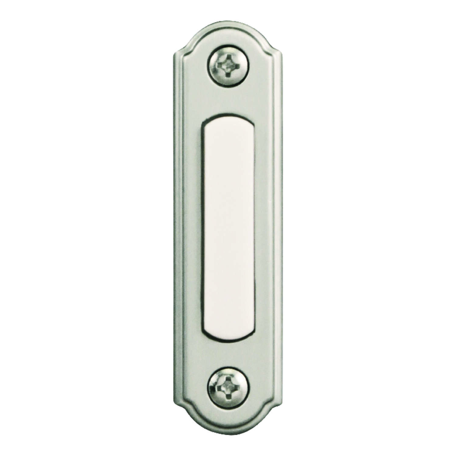 Heath Zenith Satin Nickel Silver Metal Wired Pushbutton Doorbell