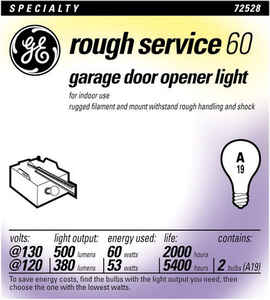 GE Lighting  rough service  53/60 watts A19  Incandescent Light Bulb  380/500 lumens White (Frosted)
