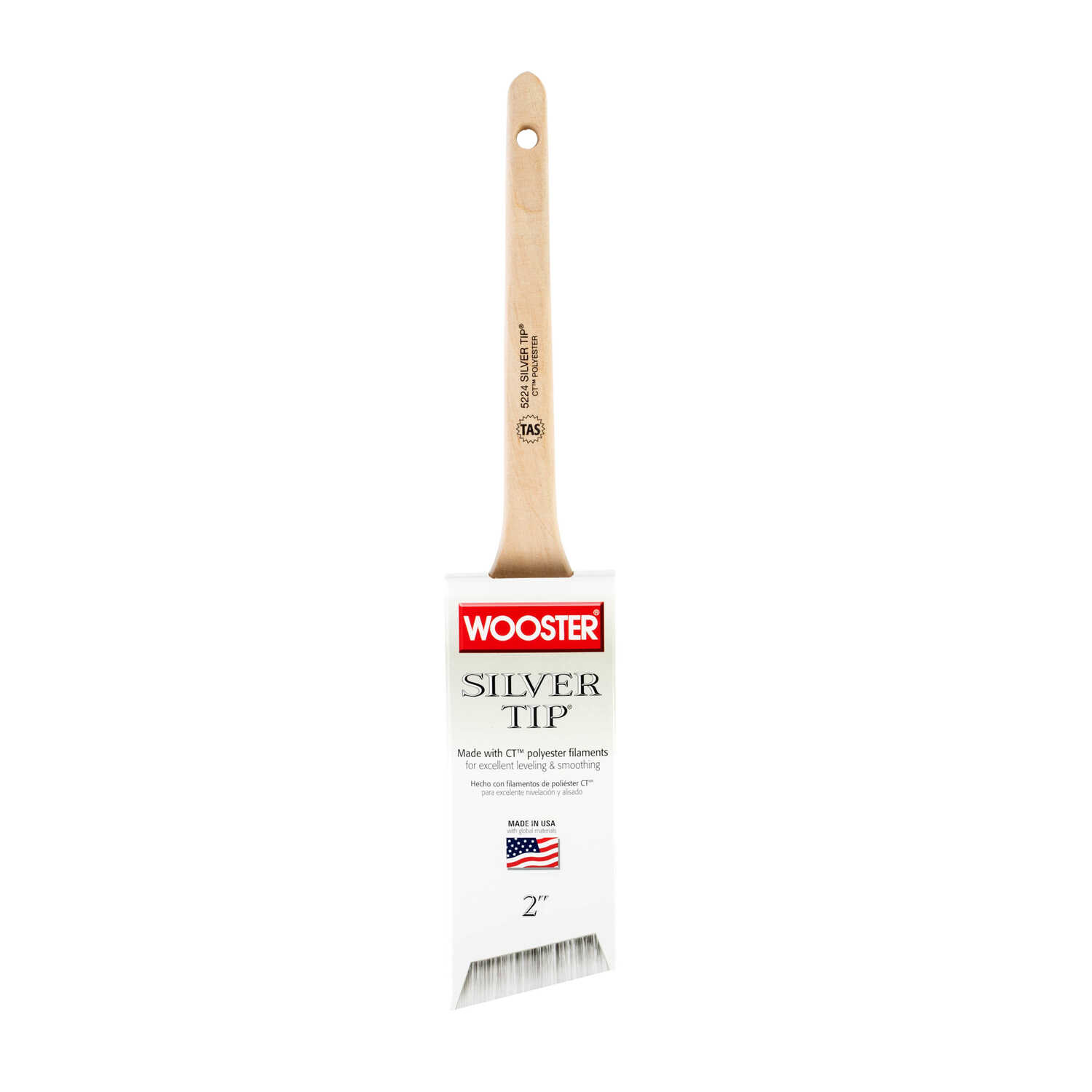 Wooster  Silver Tip  2 in. W Angle  Polyester Blend  Paint Brush