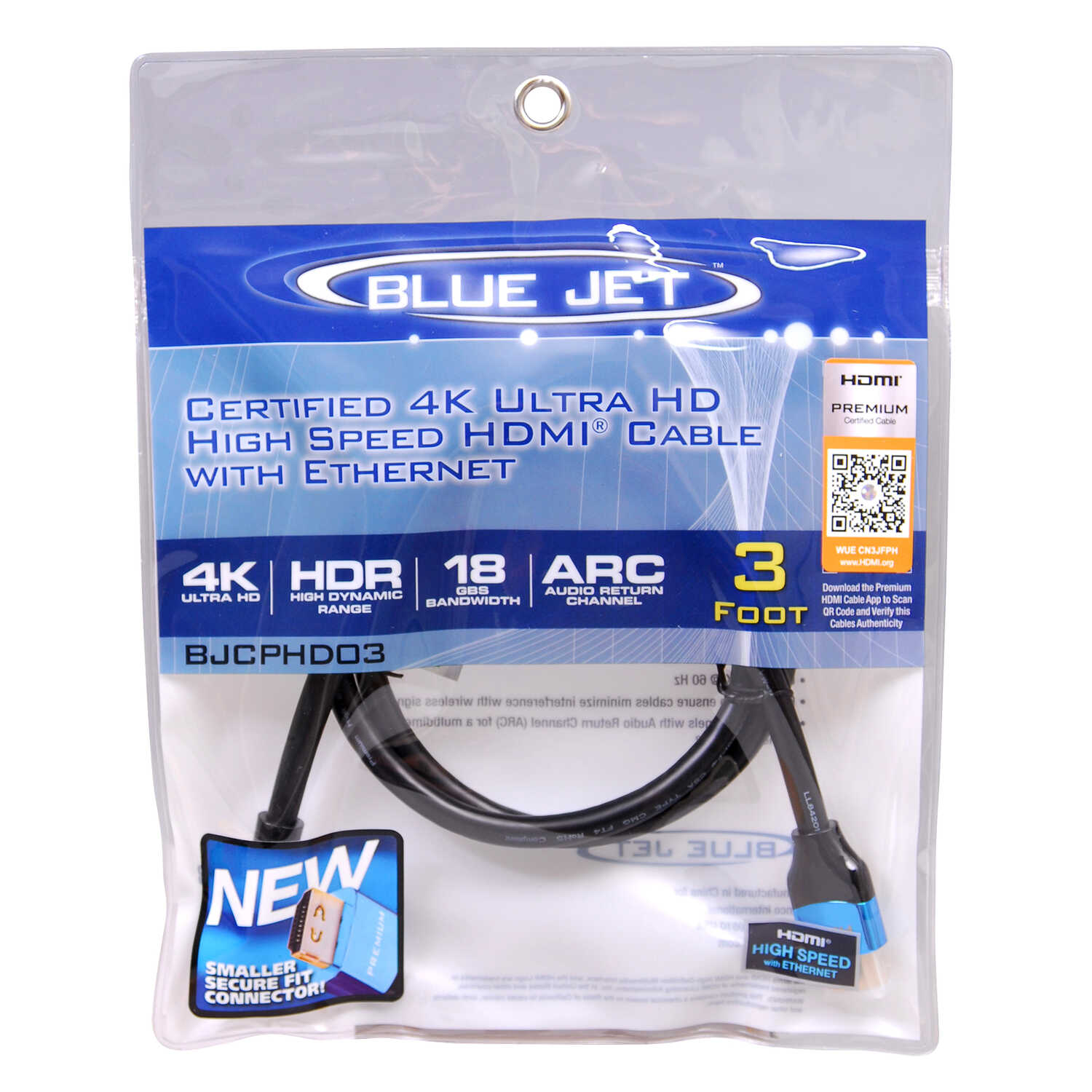 Blue Jet  3 ft. L High Speed Cable with Ethernet  HDMI