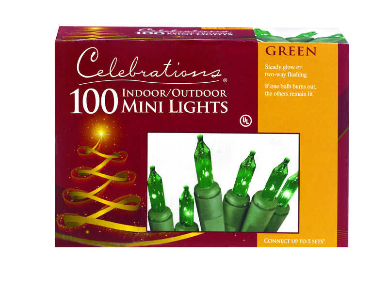Celebrations  Incandescent  Mini  Light Set  Green  20 ft. 100 lights