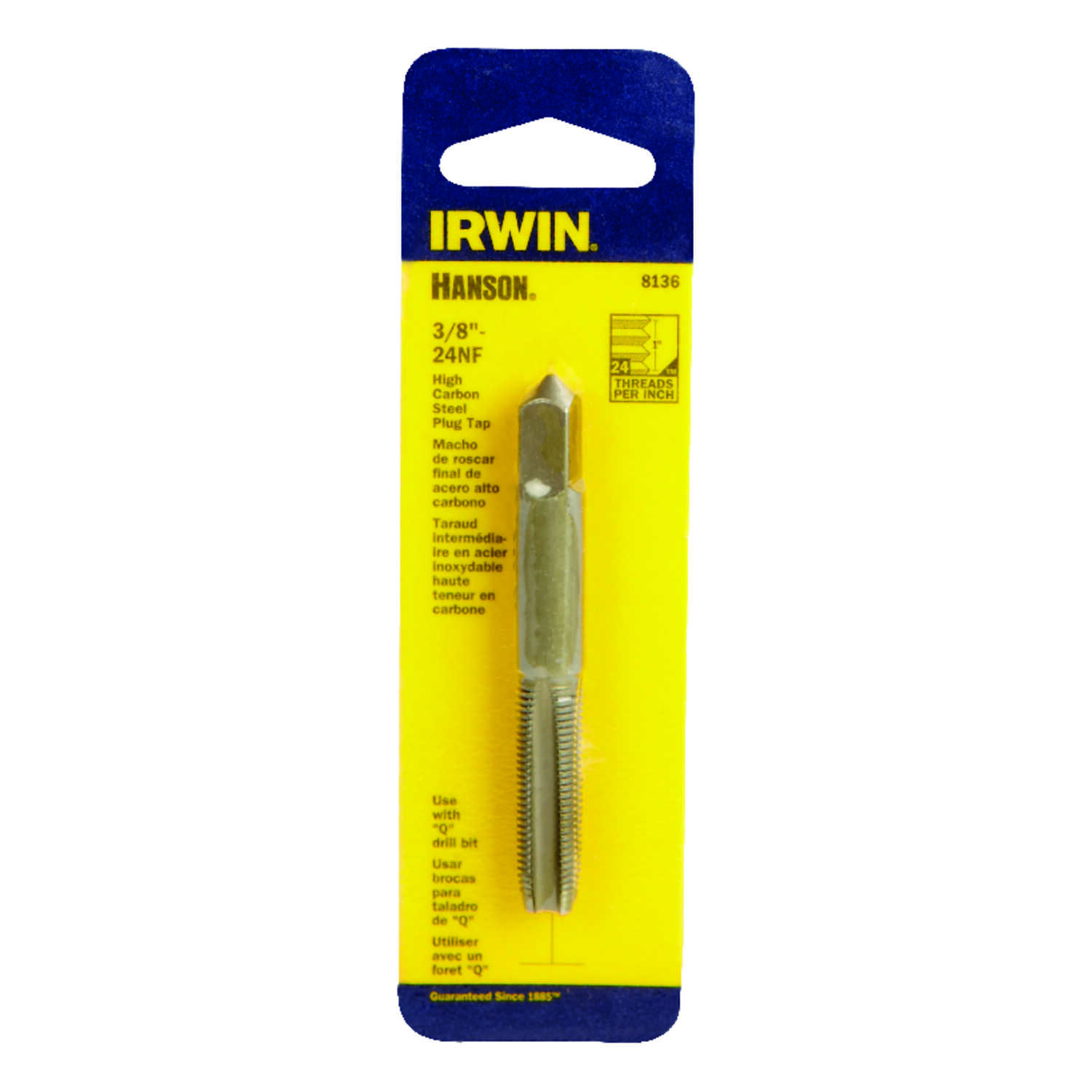 Irwin  Hanson  High Carbon Steel  SAE  Fraction Tap  3/8 in.-24NF  1 pc.