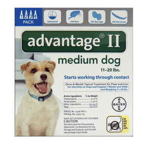 Bayer  Advantage II  Liquid  Dog  Flea Drops  Imidacloprid/Pyriproxyfen  0.14 oz.