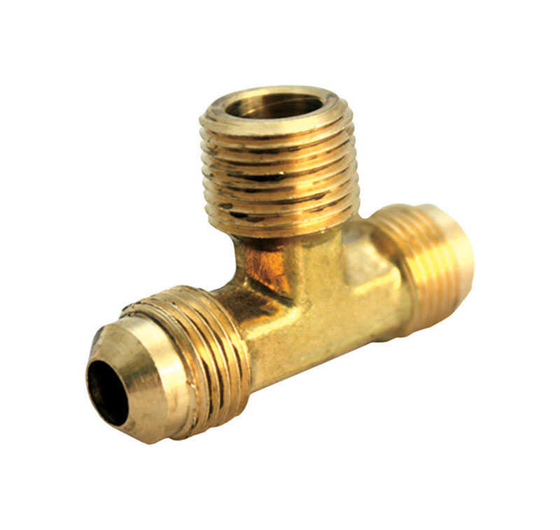 JMF  1/4 in. Dia. x 1/4 in. Dia. x 1/4 in. Dia. Flare To Flare To MPT  Yellow Brass  Reducing Tee