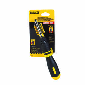 Stanley  3 in. Ratcheting  10 Piece  Screwdriver  Steel  Black  1 pc.