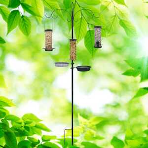 North States  Wild Bird and Finch  1 lb. Metal  Tube  Bird Feeder  5 ports