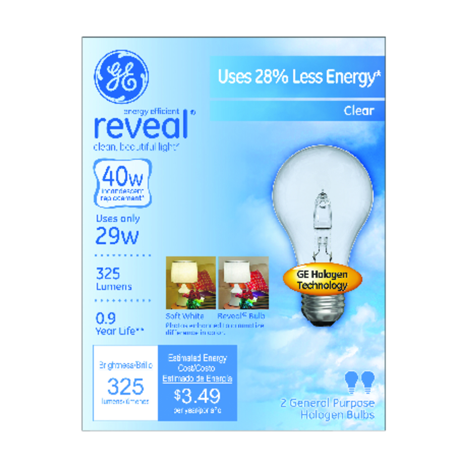 GE Lighting  Reveal  29 watts A19  Halogen Bulb  325 lumens White  2 pk A-Line  Medium Base (E26)