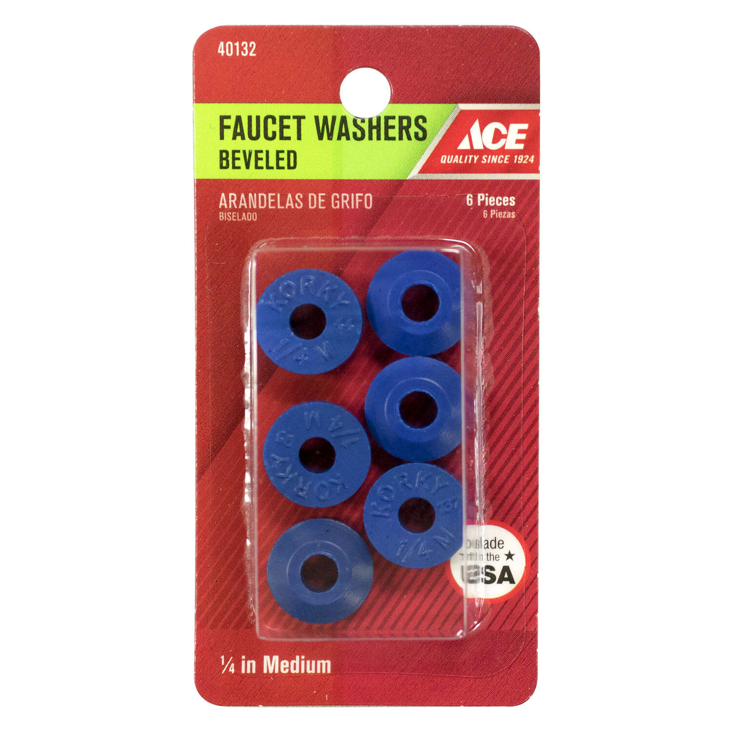 Ace  1/4 in. Dia. Synthetic Rubber  Beveled Faucet Washer  6