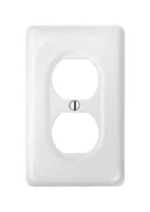 Amerelle  Allena  White  1 gang Ceramic  Duplex Outlet  Wall Plate  1 pk