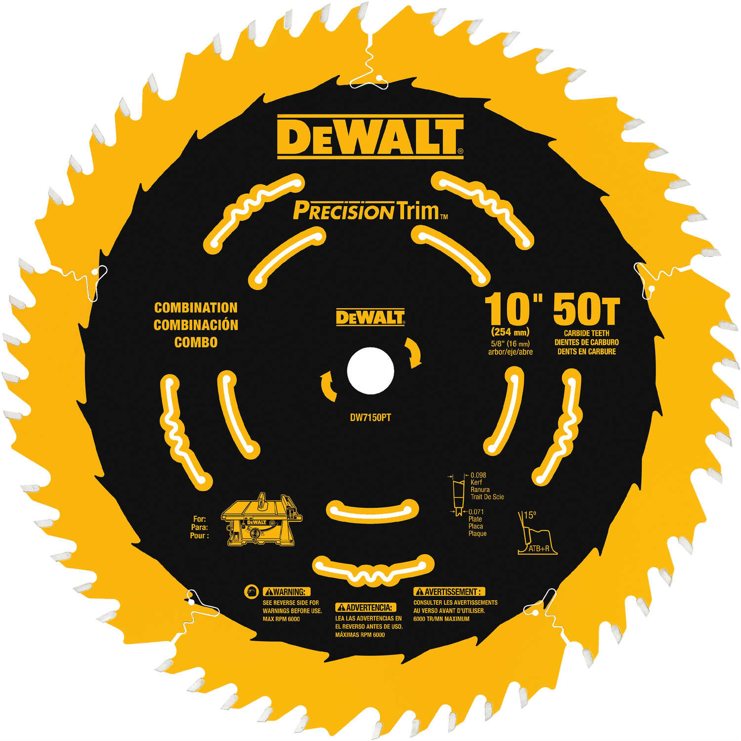 DeWalt  10 in. Dia. x 5/8 in.  Carbide Tipped  Precision Trim  Circular Saw Blade  50 teeth 1 pk