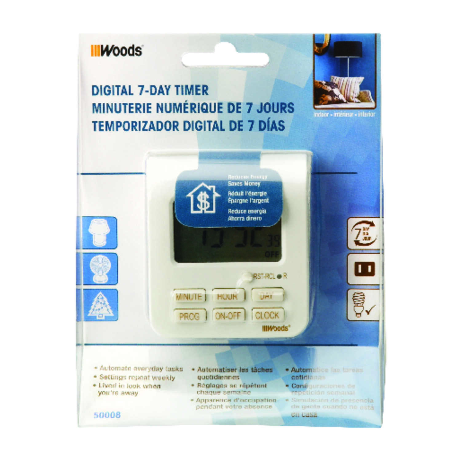 Coleman Cable  Indoor  7 Day Digital Timer  125 volt White