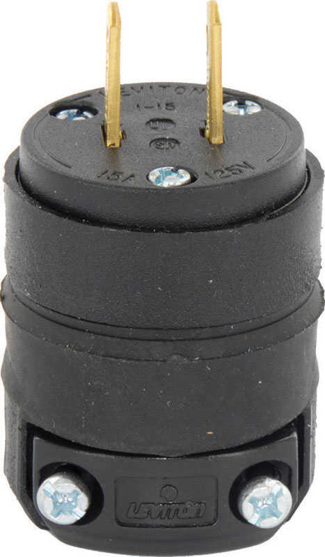 Leviton  Commercial and Residential  Rubber  Non-Grounding  Plug  1-15P  18-12 AWG 2 Pole 2 Wire  Bu