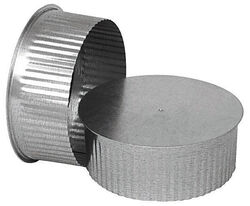 Imperial  8 in. Dia. Galvanized steel  Crimped  Pipe End Cap