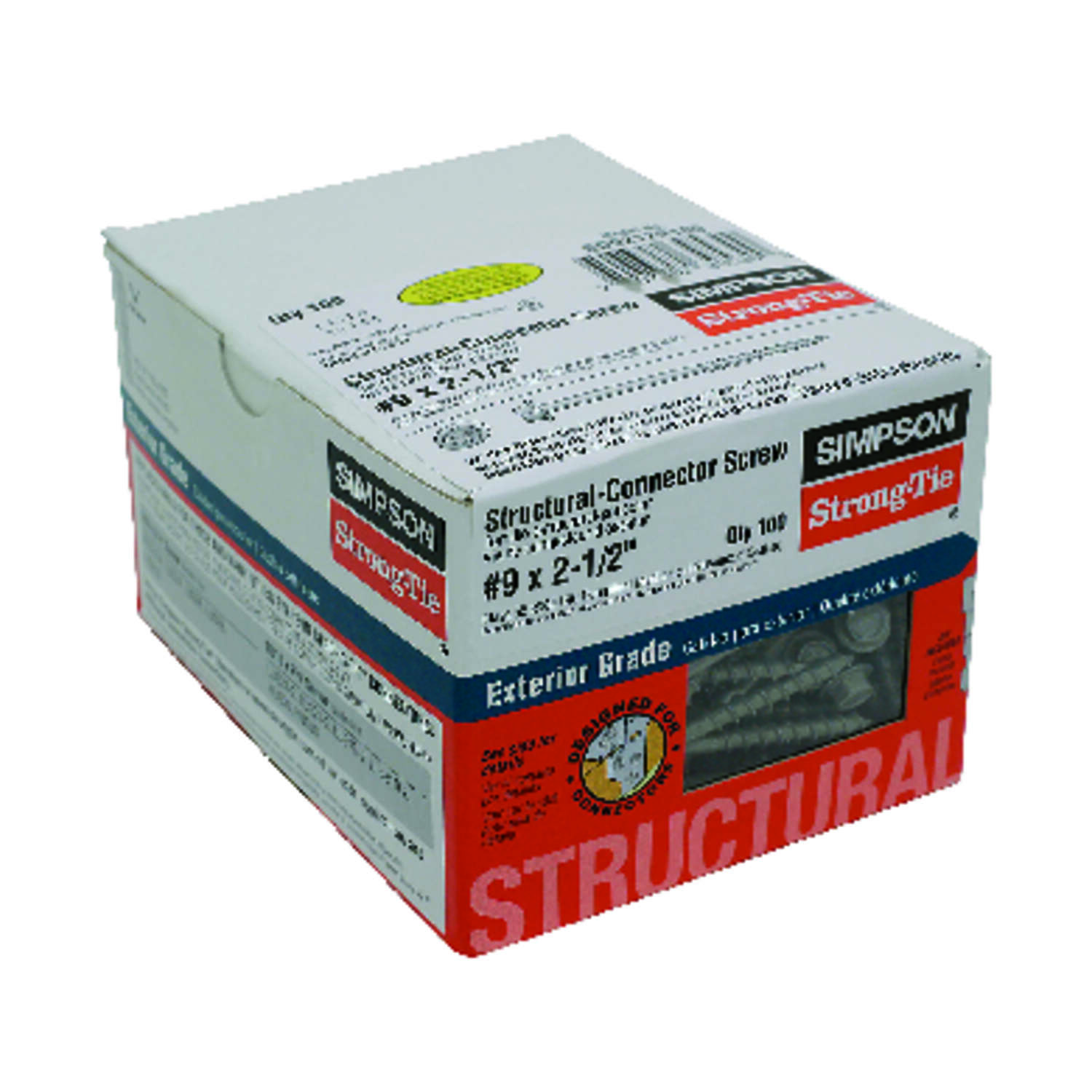 Simpson Strong-Tie  Strong-Drive  No. 9   x 2-1/2 in. L Star  Hex Head Connector Screw  1.1 lb. 100