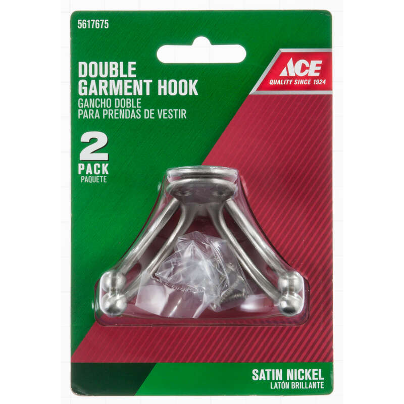 Ace  1 in. L Satin Nickel  Silver  Small  Double Garment  Hook  2 pk Brass