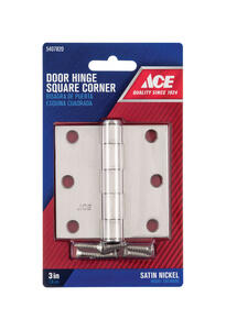 Ace  3 in. L Satin Nickel  Residential Door Hinge  1 pk