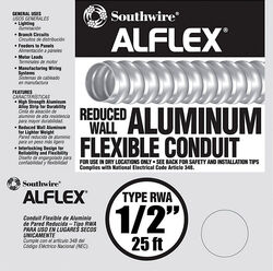 Southwire  1/2 in. Dia. x 25 ft. L Aluminium  Flexible Electrical Conduit  For FMC