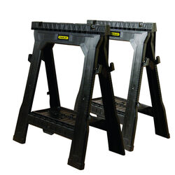 Stanley  32 in. H x 26-7/8 in. W x 2-1/8 in. D Folding Sawhorse  1000 lb. Black  1 pair