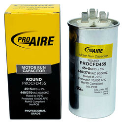 Perfect Aire ProAire 45+5 MFD 370 volt Round Run Capacitor
