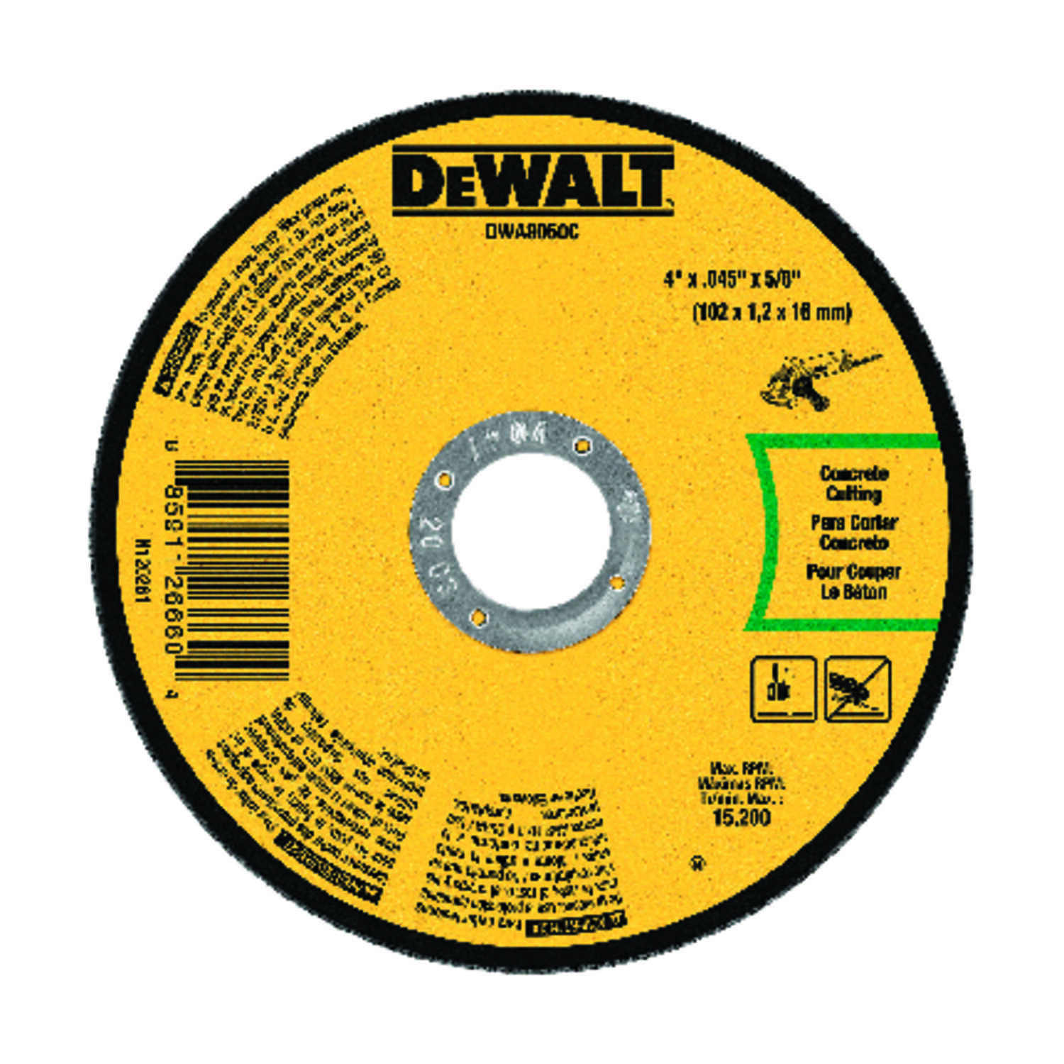 DeWalt  4 in. 5/8 in. in.  Aluminum Oxide  Masonry Cutting Wheel  1 pc.