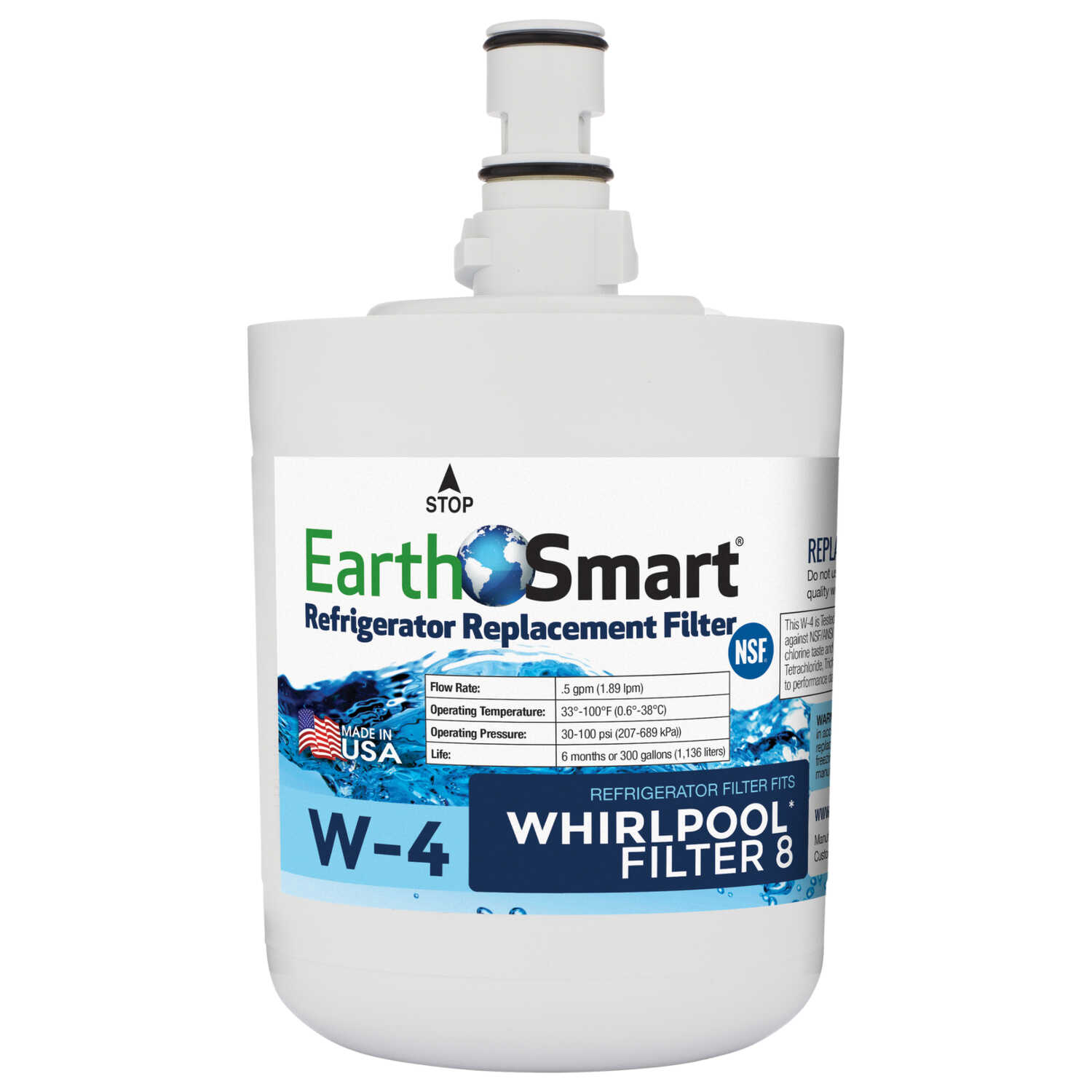 EarthSmart  W-4  Replacement Filter  For Refrigerators 300 gal.