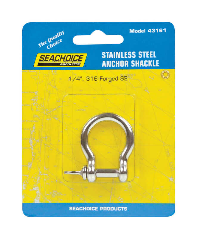 Seachoice  Polished  1 in. L x 1/4 in. W Stainless Steel  1 pc. Shackle