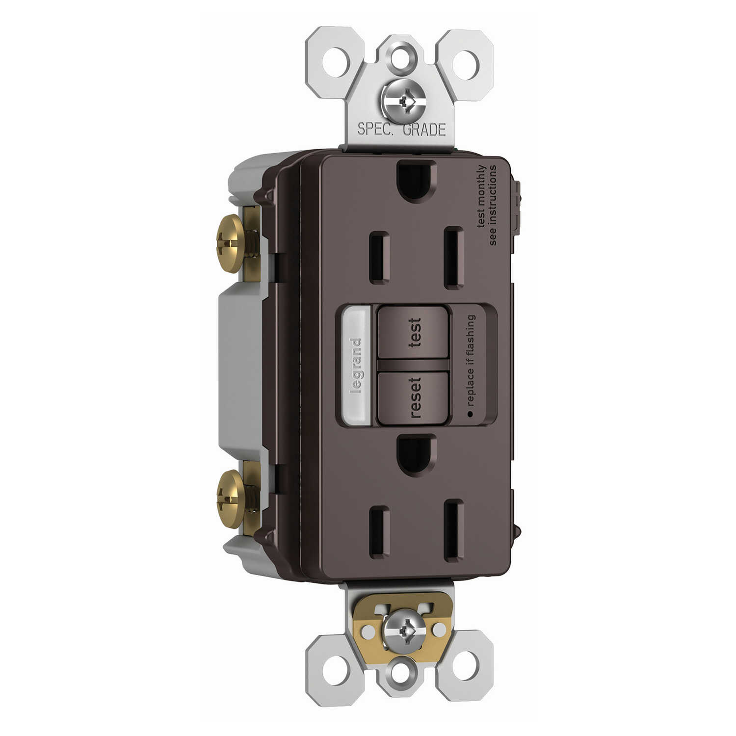 Legrand  Radiant  15 amps 125 volt Dark Bronze  Combination Outlet  5-15 R  1 pk
