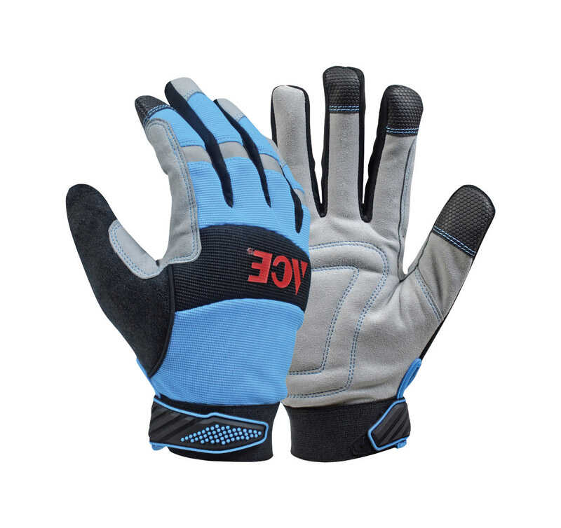 Ace  L  Leather Palm  Cold Weather  Blue  Gloves