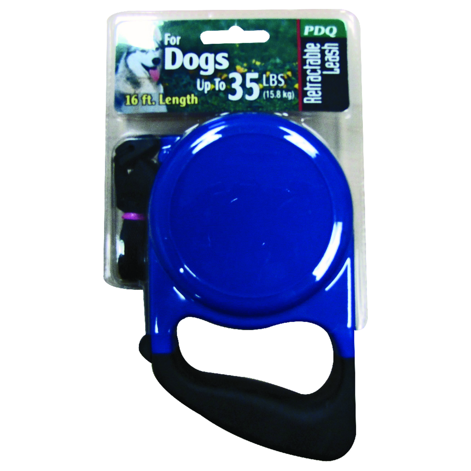 PDQ  Blue / Black  Retractable Lead  Cotton/Nylon  Dog  Retractable Leash  Medium
